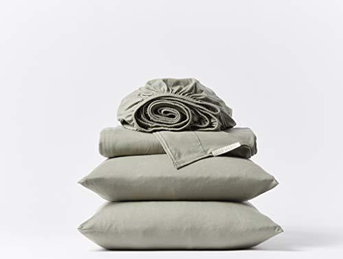 Coyuchi - 300 Thread Count Sheet Set - 100% Organic Cotton - Jersey Sheets - GOTS Certified - Twin, Laurel