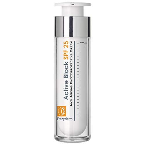 Frezyderm Active Block Crema hidratante de día protección SPF 25 (filtros UVA y UVB, ácido hialurónico y activos antienvejecimiento), 50ml
