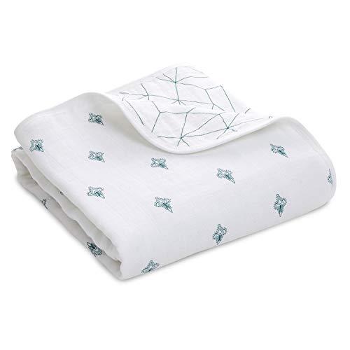 Manta para cochecito Aden + Anais, 100 % muselina de algodón, 4 capas, ligera y transpirable, 70 x 70 cm, Paisley - Paisley Drip verde azulado