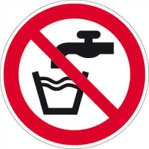 Schild Kein Trinkwasser gemäß ASR A1.3/DIN 7010 Alu 10 cm Ø (nicht trinken, Trinkverbot, Verbotsschild) praxisbewährt, wetterfest