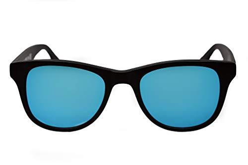 amoloma zonnebril met mat ijsblauw gespiegelde zonnebrillenglazen en zwart mat acetaat frame voor heren en dames