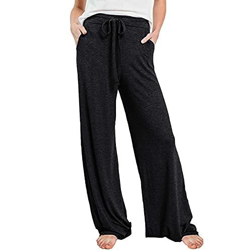 WJANYHN Pantalones Casuales con CordóN De Moda Pantalones Rectos Sueltos De Bolsillo De Cintura Alta De...