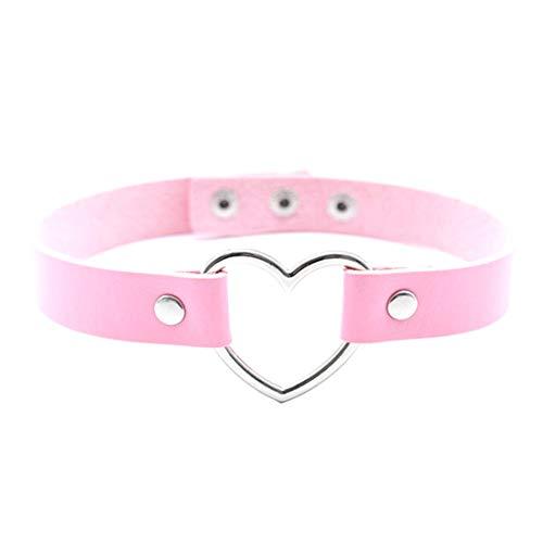Demarkt Halsband Halskette Choker Halsketten Velvet Halskette Herz Legierung und Leder Punk (Rosa)