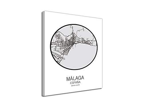 Afbeelding op canvas, landkaart Spanje Mallaga op canvas, decoratief, moderne afbeeldingen 75 x 100 Cm Con Bastidor - Listo para colgar Wit Grijs