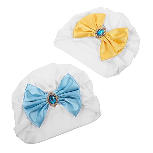 SOIMISS 2 Piezas de Turbante con Lazo para Bebé Cinta de Satén con Diamantes de Imitación Recién Nacidos Bebés Suaves Bonitos Sombreros para Bebés Gorras para Hospital Sombrero para La