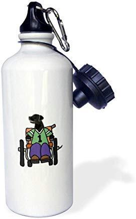 GFGKKGJFD612 Trinkflasche, Motiv Schwarzer Labor im Rollstuhl, Handicap Cartoon, Aluminium, Weiß