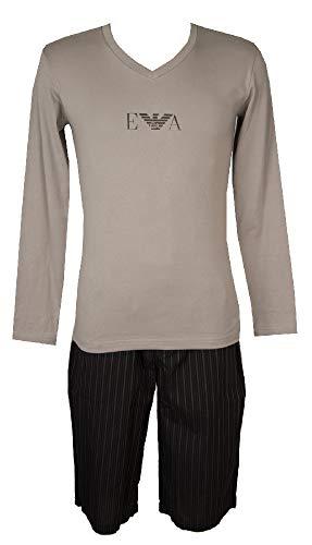 Emporio Armani Pigiama Uomo Manica Lunga Pantalone Corto Bermuda Scollo V Cotone Articolo 111022 4A500+111205 4A576, 11443 Grey, M