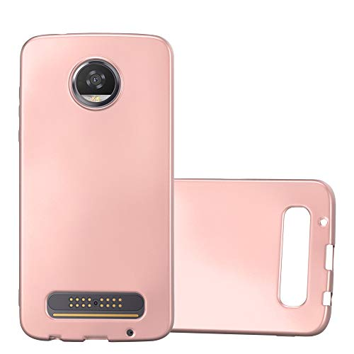Cadorabo Hülle für Motorola Moto Z2 Play - Hülle in METALLIC Rose Gold – Handyhülle aus TPU Silikon im Matt Metallic Design - Silikonhülle Schutzhülle Ultra Slim Soft Back Cover Case Bumper