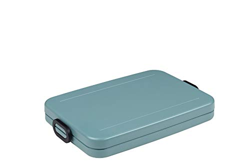 Mepal Lunchbox Take a Break Flat – Nordic Green – 900 ml Inhalt – Brotdose für die Laptoptasche – für bis zu 4 Butterbrote – spülmaschinenfest, ABS, 800 ml