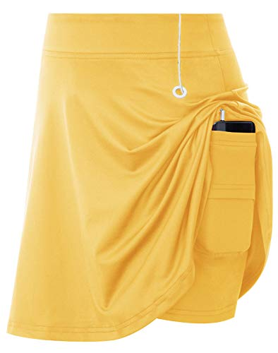 JACK SMITH Women's Active Athletic Skorts Exercise Skirt with Pocket for Tennis(L,Yellow)