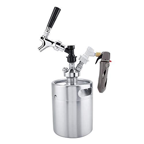 Fdit1 2L Mini Barril de Acero Inoxidable con Grifo presurizado Cerveza casera Craft Set dispensador de Cerveza Mini Barril Cerveza Cerveza casera Cerveza casera