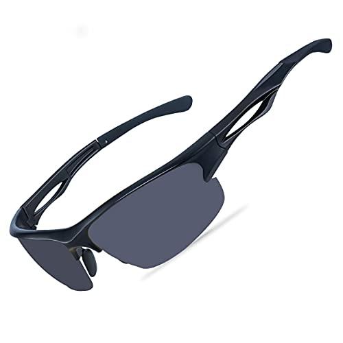 Goiteia Polarisierte Sport-Sonnenbrillen für Herren und Damen- Fahrradbrille mit UV400 Schutz Superleichtes TR 90 Rahmen zum Radfahren Skifahren Autofahren Angeln Laufen Wandern (Schwarz)