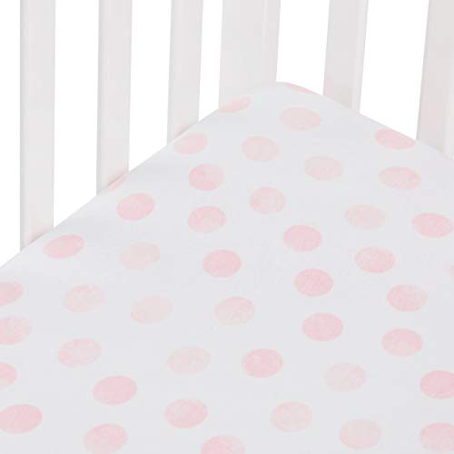 Andi Mae Crib Sheet - Watercolor Pink Dots - 100% Jersey Cotton - Fits Standard Crib or Toddler Mattresses