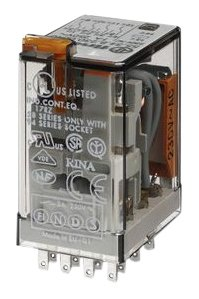 Finder 553480240040 Relais, steckbar, Schutzart RTIV, 7A, 24VAC, mit Prüftaste, mechanischer Anzeige
