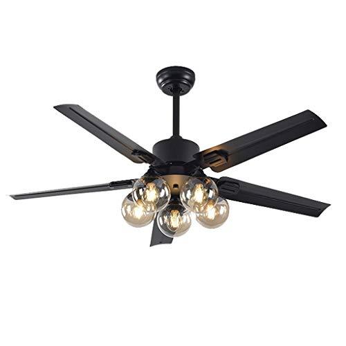 Ventiladores para el Techo con Lámpara Interior Ventilador de Techo con Luz y Control Remoto, Hierro Negro Ventilador Luz Reversible Cuchillas Monte Silencioso Ventilador Eléctrico, 3 Velocidad Ventil