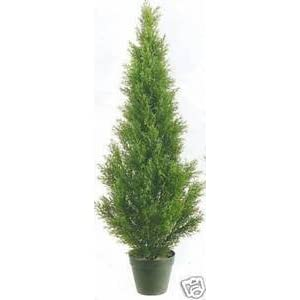 Silk Flower Arrangements One 3 Foot Outdoor Artificial Cedar Topiary Tree Potted Plant