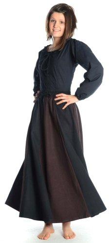 HEMAD Falda medieval de algodón para mujer - S/M Negro & Marrón
