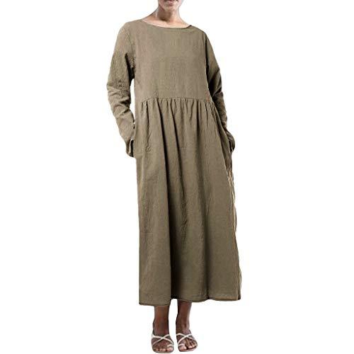 Femmes Coton Lin Maxi Robe Plus La Taille Vêtements D'Été Longue Robe Kaftans Manches Courtes Vintage Lâche Casual Robes Uni avec Poches latérales - - XXL