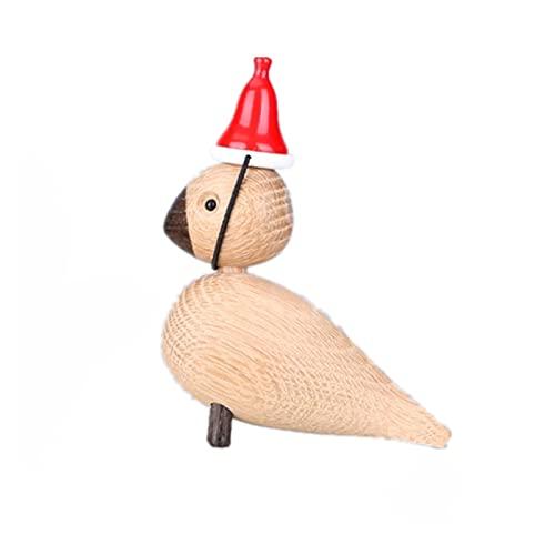 YEJIE Miniaturmodell Dekorative Vogel Holz Tier Miniatur Figuren Nordic Dekoration Ornamente Lark Vogel Holz Spielzeug skulptur Dekorationsverzierungen (Color : 1 Couple - Big hat)