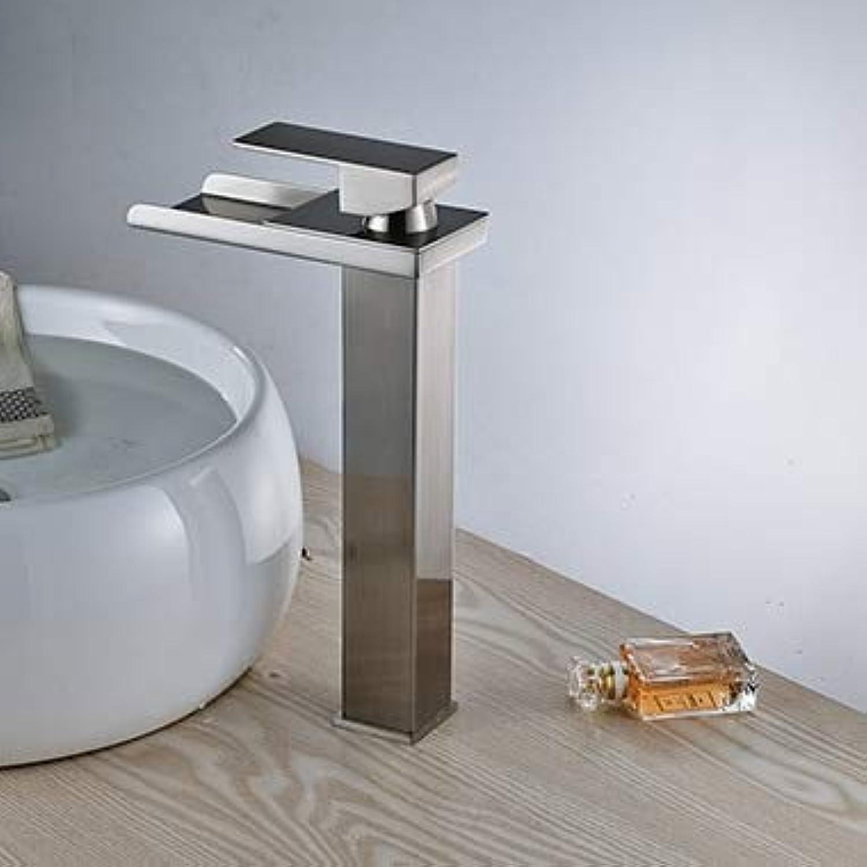 U-Enjoy Kronleuchter Nickle-Finish Brushed Deck Wasserfall Top-Qualitt Mixer Mounted-Bassin-Hahn-Hahn Hei Kalt Faucetwith Kostenloser Versand [Style 3]