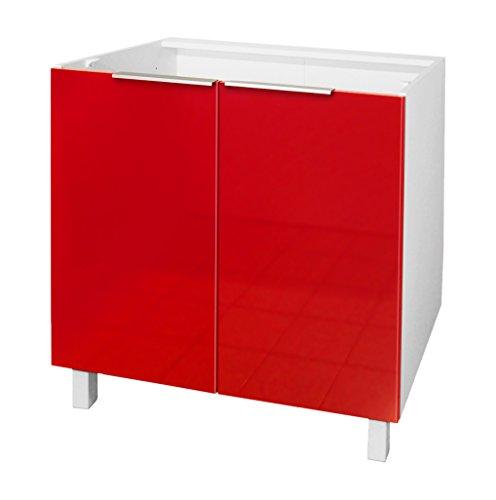 Berlioz Creations Mobiletto da cucina con 2 ante, Altro, Rosso altamente brillante, 80 x 52