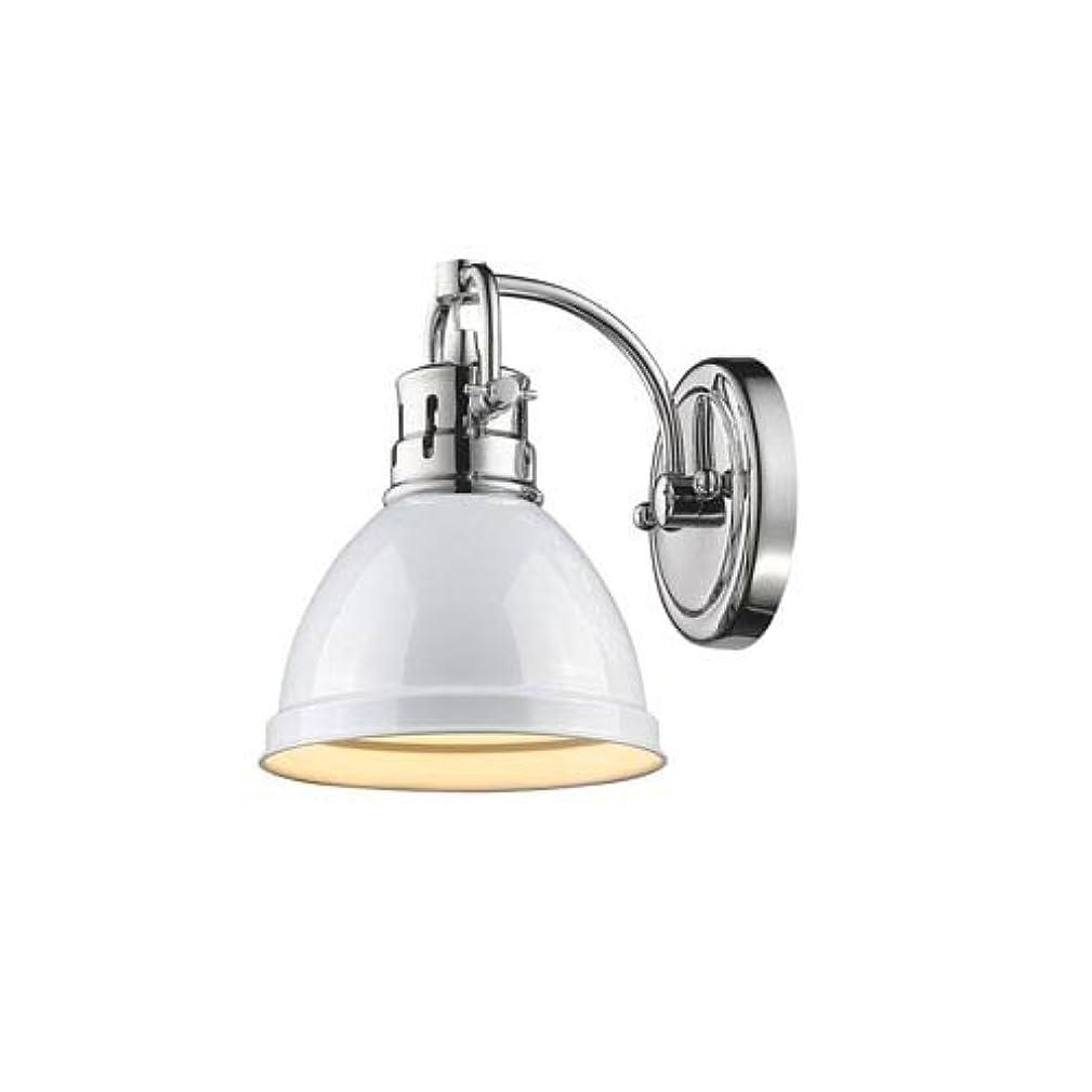 Golden Lighting 3602-BA1 CH-WH Duncan - One Light Bath Vanity, Chrome Finish with White Glass