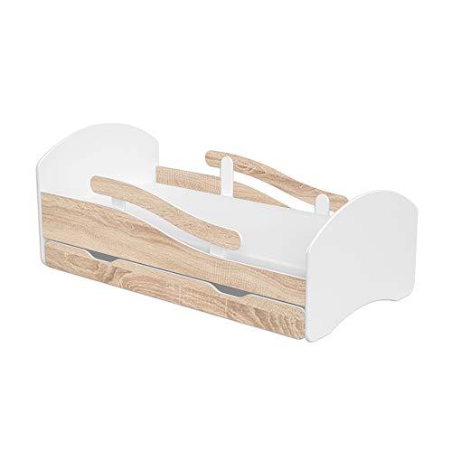 Clamaro \'Leo\' Kinderbett Jugendbett 140x70 mit verstellbarem Rausfallschutz (beidseitig) und Kantenschutzleisten, Bett Set inkl. Lattenrost, Matratze und Bettkasten Schublade auf Rollen - Weiß/Eiche