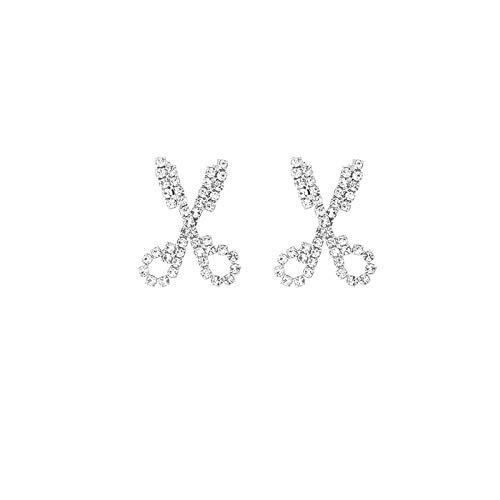 925 Aguja de plata Diamante Cruz Tijeras Pendientes de botón Temperamento Pendientes de personalidad de moda Pendientes Pendientes simples