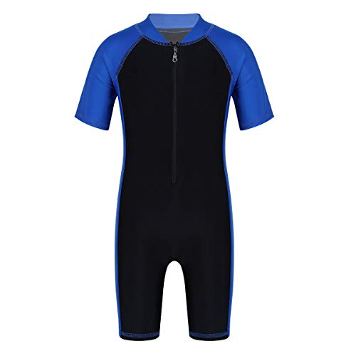 zdhoor Kids Boys Girls One-Piece Thermal Swimsuit Shorty Wetsuit Short Sleeves Zippered Rash Guard Bathing Suit Blue&Black 8-10