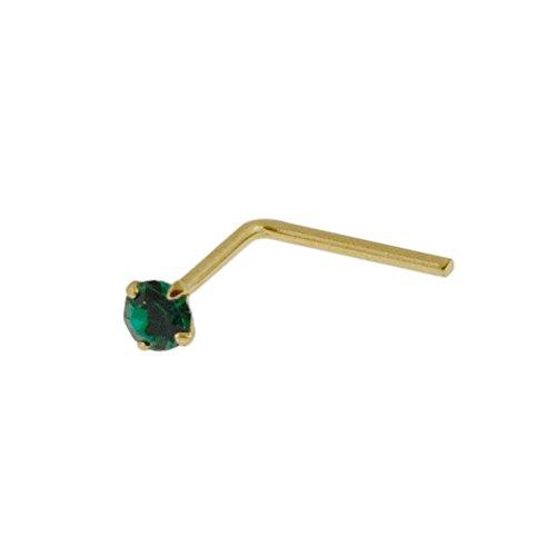 Juego de pendientes para nariz de oro amarillo macizo de 9 quilates con piedra de cristal esmeralda calibre 22 en forma de L