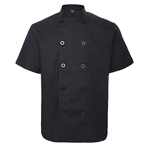 TOPTIE Unisex Short Sleeve Chef Coat Jacket, Black