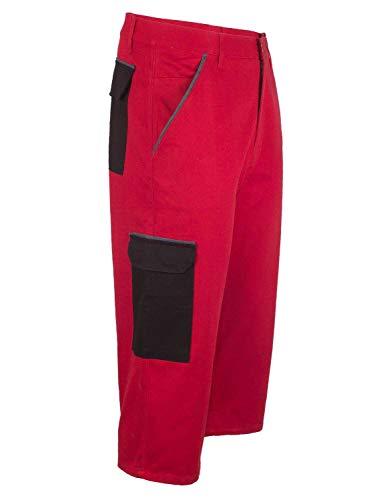 Herren 7/8 Hose Arbeitshose Kurze Arbeitsbekleidung für den Sommer Rot 52