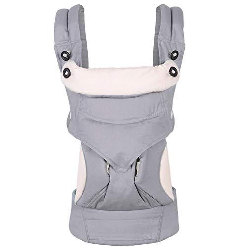 Fascol Mochila Portabebés Ergonómico de Algodón Puro para Bebés de 3 a 48 Meses, Portabebés Ligero y Portátil de 4 Posiciones, con Cinturón Ajustable, Gris