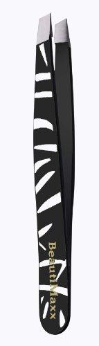 Beautimaxx Pince à épiler à pointe biseautée Motif zèbre Noir 9 cm