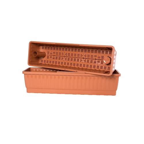 Hawita Balkonkasten mit Wasserspeichersystem Venezia, terracotta, 100cm, mit Wasserstandsanzeiger, Pflanzgefäß, Blumenkasten, Pflanzkasten
