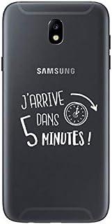 "ZOKKO J7 2017 Case ""J'arrive dans 5 Minutes"" [French Language] - Transparent Soft White Ink"