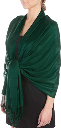 Sakkas Large Soft Silky Pashmina Shawl Wrap Scarf Stole in Solid Colors - Dark Green