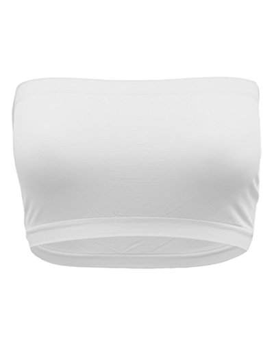Strapless Bandeau Bra, Seamless Stretchy Crop Tube Top Pack Sets of 4 or Single Single_White_Plus