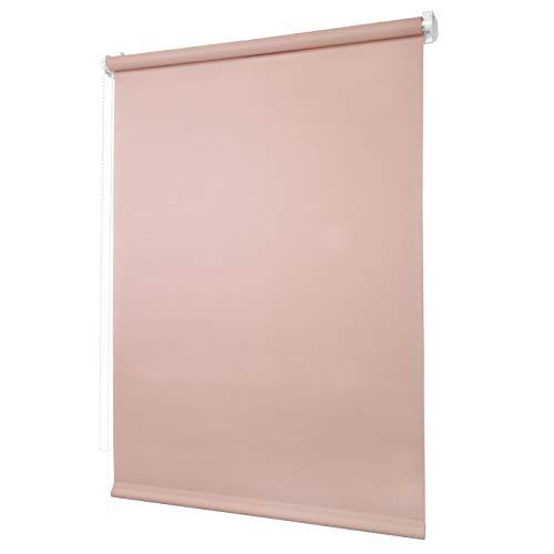 Ventanara Rollo ohne Bohren tageslicht Seitenzugrollo Klemmfix Fensterrollo (90 x 150 cm, Puderrosa)
