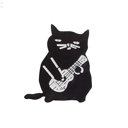 Neue schwarze Katze Gentleman spielen Gitarre Brosche Mode Persönlichkeit Sie Hund hat Flöhe Text Abzeichen Denim Kleidung Anhänger Juwelier