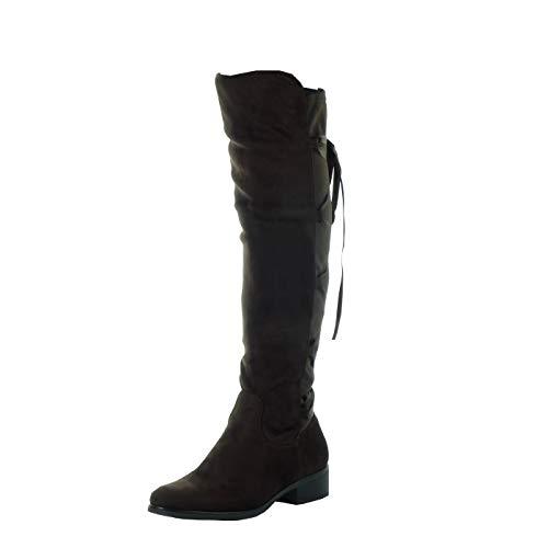 Angkorly - Scarpe da Moda Stivali - Scarponi Cavalier Flessibile Donna Lacci in Raso Tacco a Blocco Tacco Alto 3.5 CM - Soletta Foderato di Pelliccia - Marrone H201 T 38