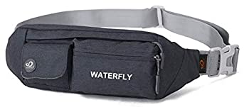 WATERFLY Fanny Pack for Women Men Water Resistant Small Waist Pouch Slim Belt Bag with 4 Pockets for Running Travelling Hiking Walking Lightweight Crossbody Chest Bag Fit All Phones
