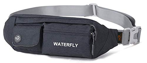 WATERFLY Fanny Pack for Women Men Water Resistant Small Waist Pouch Slim Belt Bag with 4 Pockets for Running Travelling Hiking...