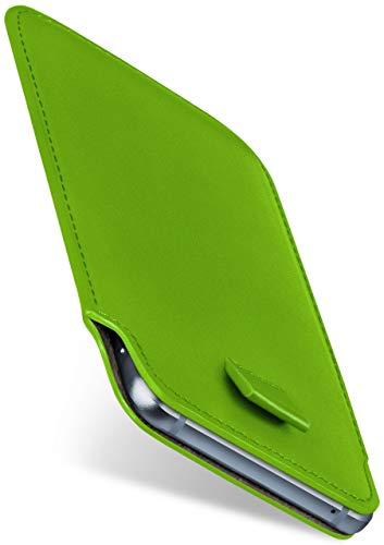 moex Slide Hülle für HP Elite x3 - Hülle zum Reinstecken, Etui Handytasche mit Ausziehhilfe, dünne Handyhülle aus edlem PU Leder - Grün