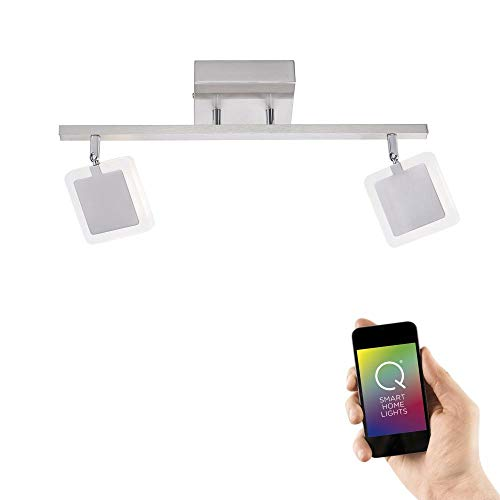 Paul Neuhaus, LED Deckenleuchte, Smart Home, 2-flammig, Stahl, RGB+W, Fernbedienung, dimmbar, Memory-Funktion