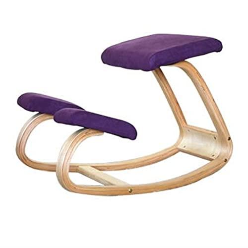 JIASHIQI Sedia ergonomica in Ginocchio, Sedia da correzione Sedia a Dondolo , Sedia da Computer per Ufficio a casa Anti-miopia Anti-gobbo Invecchiato (Color : Purple)