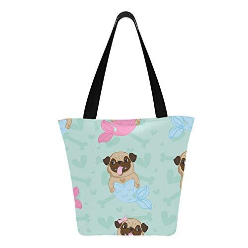Lindo animal de dibujos animados, mascota, perro, barro amasado, 11 × 7 × 13 pulgadas, lavable a máquina, resistente, de poliéster, para mujer, bolso de mano plegable, reutilizable, para compras