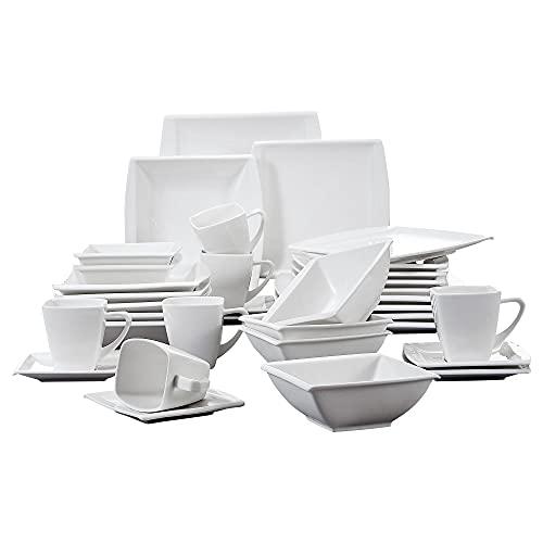 MALACASA, Série Blance, 36 pièces Services de Table Porcelaine Vaisselles pour 6 Personnes