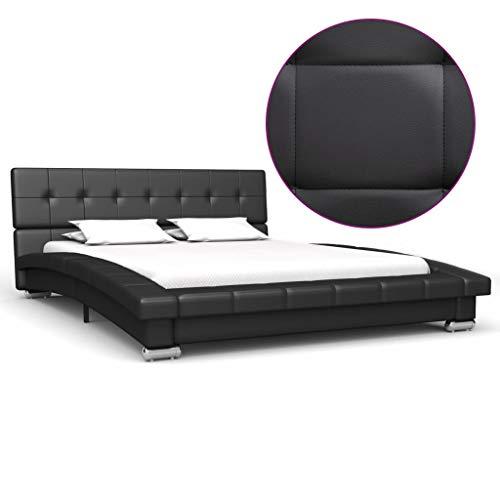 vidaXL Estructura de Cama de Cuero Artificial Colchón Hogar Canapé Habitación Dormitorio Casa Mobiliario Mueble Somier Bricolaje 200x120 cm Negro