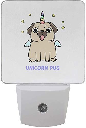 Paquete de 2 lámparas LED de luz nocturna con diseño de perro de perrito con sensor de atardecer a amanecer para dormitorio, baño, pasillo, escaleras, 0,5 W, Reino Unido Jack